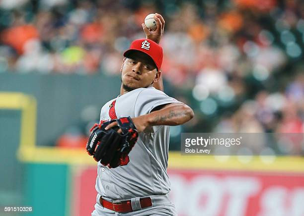 Carlos Martinez of the St Louis Cardinals pitches in the first inning against the Houston Astros at Minute Maid Park on August 17 2016 in Houston...