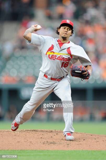 Carlos Martinez of the St Louis Cardinals pitches in the first inning against the Baltimore Orioles at Oriole Park at Camden Yards on June 16 2017 in...