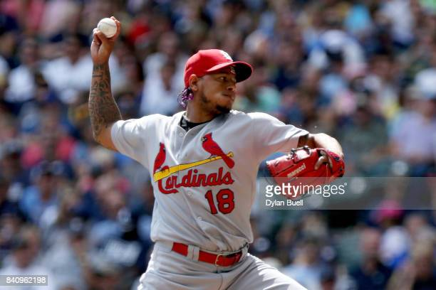 Carlos Martinez of the St Louis Cardinals pitches in the second inning against the Milwaukee Brewers at Miller Park on August 30 2017 in Milwaukee...