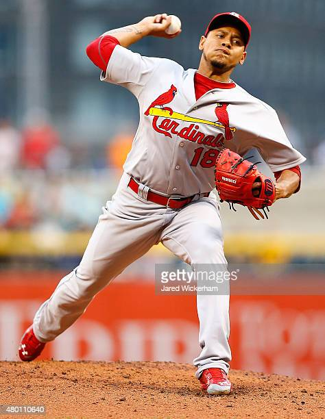 Carlos Martinez of the St Louis Cardinals pitches in the third inning against the Pittsburgh Pirates during the game at PNC Park on July 9 2015 in...
