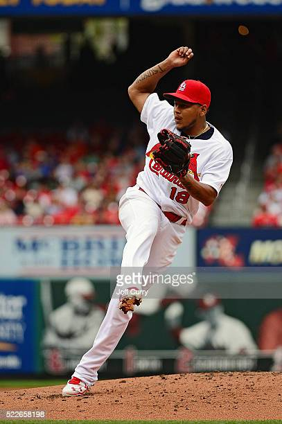 Carlos Martinez of the St Louis Cardinals pitches to a Chicago Cubs batter during the second inning at Busch Stadium on April 20 2016 in St Louis...