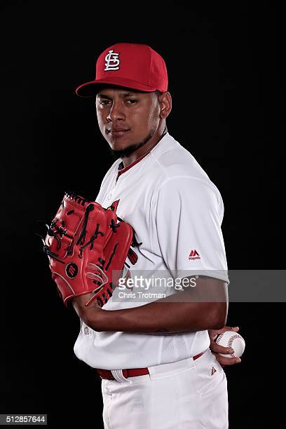 Carlos Martinez of the St Louis Cardinals poses for a photograph at Spring Training photo day at Roger Dean Stadium on February 25 2016 in Jupiter...