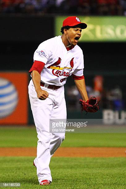 Carlos Martinez of the St Louis Cardinals reacts at the end of the eighth inning against the Los Angeles Dodgers during Game One of the National...