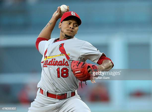 Carlos Martinez of the St Louis Cardinals throws a pitch against the Los Angeles Dodgers at Dodger Stadium on June 5 2015 in Los Angeles California