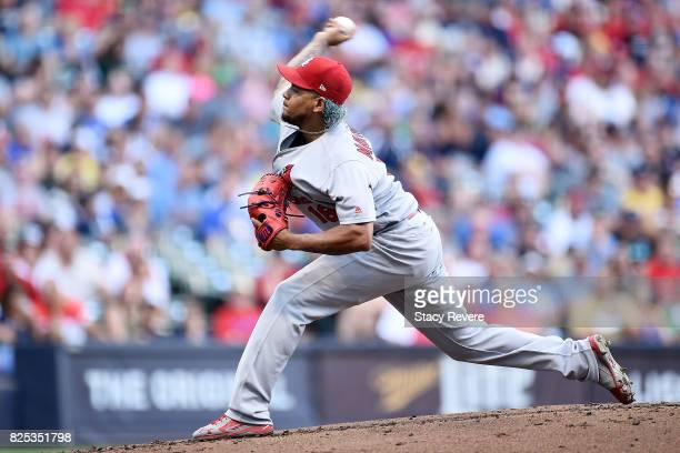 Carlos Martinez of the St Louis Cardinals throws a pitch during the first inning against the Milwaukee Brewers at Miller Park on August 1 2017 in...