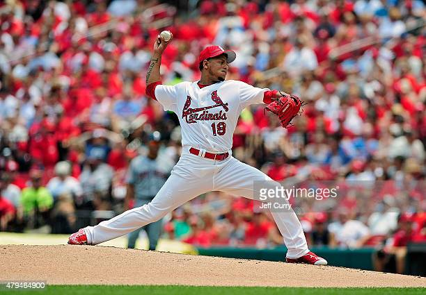 Carlos Martinez of the St Louis Cardinals throws to a San Diego Padres batter during the third inning at Busch Stadium on July 4 2015 in St Louis...