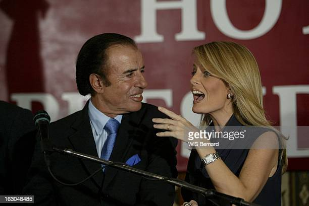 Carlos Menem Leads In The Second Round Of Presidential Elections Les résultats du 1er tour des élections présidentielles Carlos MENEM de profil...