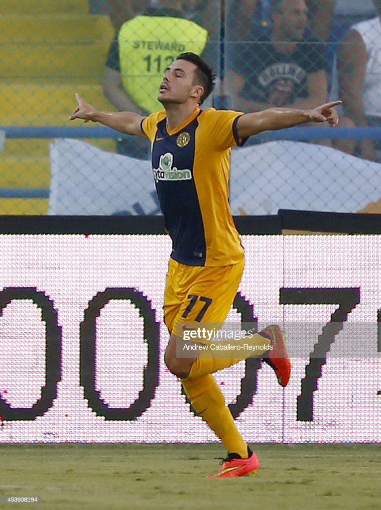 Carlos Miguel Tavares De Oliverira of AEL Limassol FC celebrates scoring a goal during the AEL Limassol FC v Tottenham Hotspur - UEFA Europa League Qualifying Play-Offs Round match on August 21, 2014 in Larnaca, Cyprus.