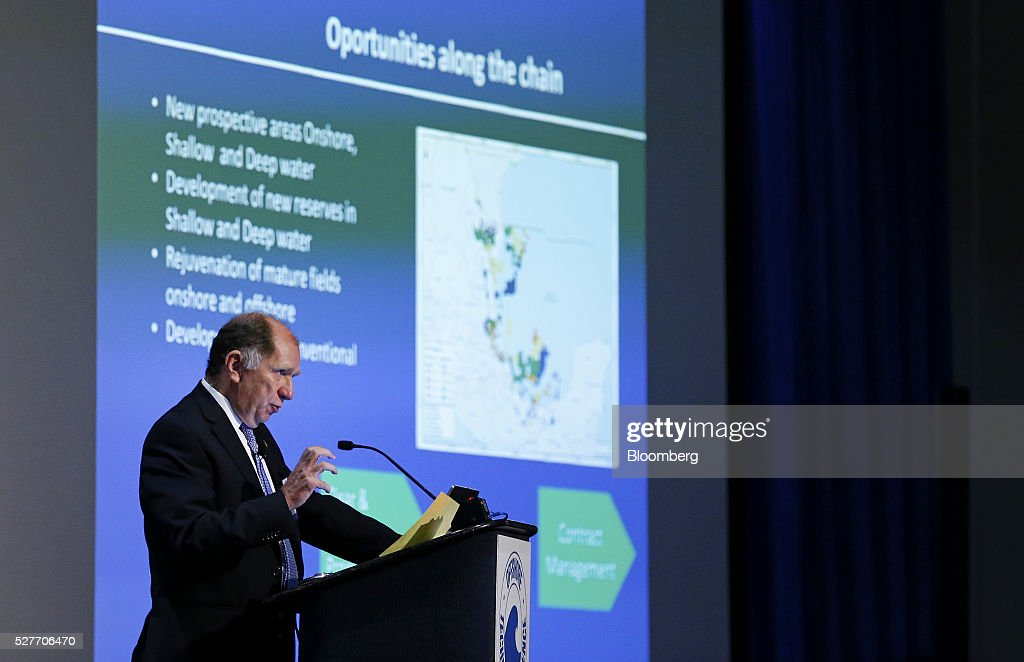 Carlos Morales Gil, chief executive officer of Petrobal, speaks during the 2016 Offshore Technology Conference (OTC) in Houston, Texas, U.S., on Tuesday, May 3, 2016. The OTC gathers energy professionals to exchange ideas and opinions to advance scientific and technical knowledge for offshore resources. Photographer: Aaron M. Sprecher/Bloomberg via Getty Images