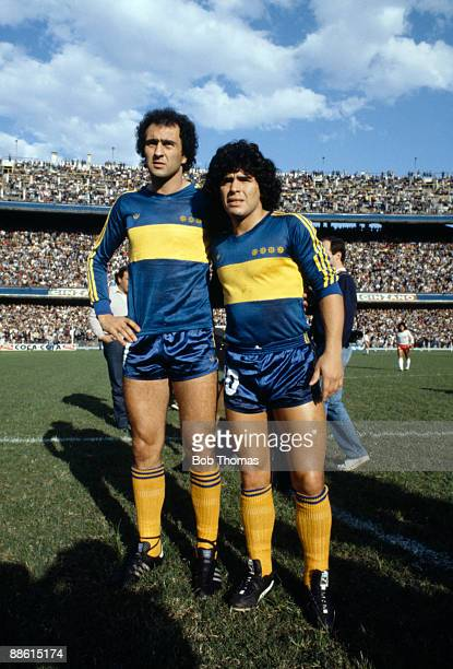 Carlos Morete and Diego Maradona of Boca Juniors before the Boca Juniors v Talleres match in Buenos Aires Argentina in 1981