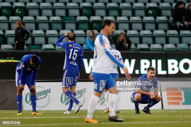 Carlos Moros Gracia of GIF Sundsvall dejected during the Allsvenskan match between GIF Sundsvall and IFK Norrkoping at Idrottsparken on October 22...