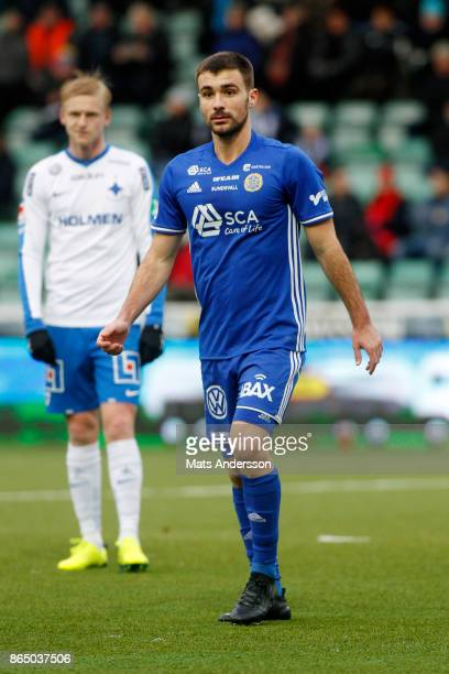 Carlos Moros Gracia of GIF Sundsvall during the Allsvenskan match between GIF Sundsvall and IFK Norrkoping at Idrottsparken on October 22 2017 in...