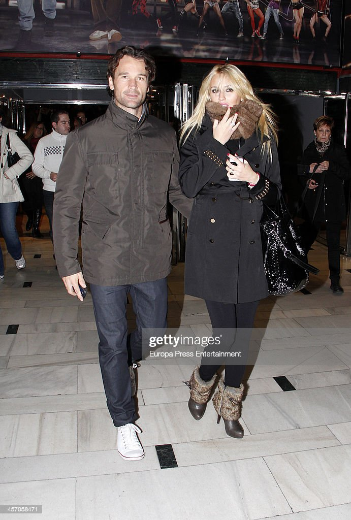 Carlos Moya and Carolina Cerezuela are seen leaving a theatre on December 02 2013 in Madrid Spain