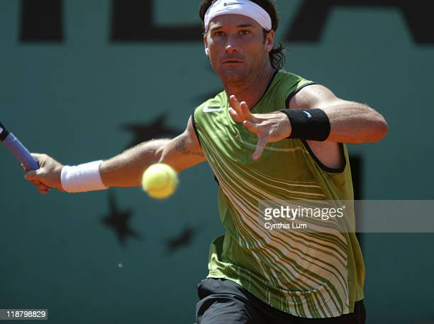 Carlos Moya defeats countryman Fernando Vicente 64 76 67 06 64 in third round of the 2005 French Open on May 27 2005