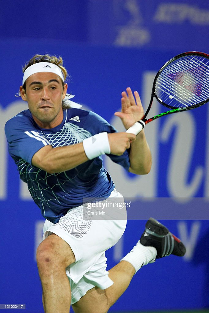 <a gi-track='captionPersonalityLinkClicked' href=/galleries/search?phrase=Carlos+Moya&family=editorial&specificpeople=171236 ng-click='$event.stopPropagation()'>Carlos Moya</a> (ESP) defeats <a gi-track='captionPersonalityLinkClicked' href=/galleries/search?phrase=Marcos+Baghdatis&family=editorial&specificpeople=226943 ng-click='$event.stopPropagation()'>Marcos Baghdatis</a> (CYP), pictured, 61 36 76(3) in the quarter final of the Men's Singles at the Australian Medibank International, part of the Australian Open Series in Sydney, Australia on January 11, 2007.