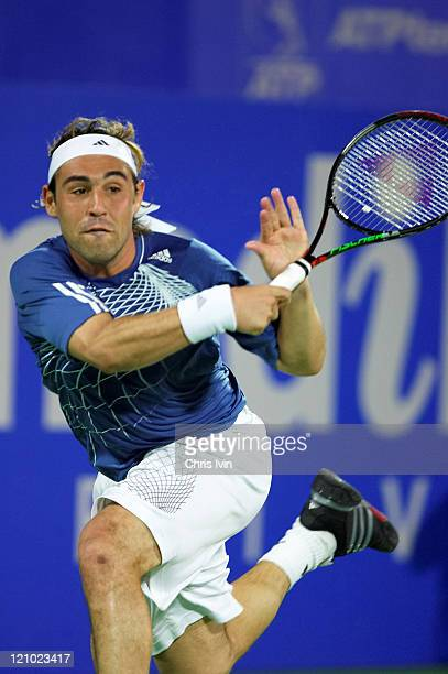 Carlos Moya defeats Marcos Baghdatis pictured 61 36 76 in the quarter final of the Men's Singles at the Australian Medibank International part of the...