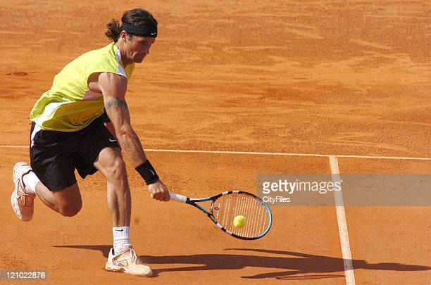 Carlos Moya of Spain in action defeating Gustavo Marcaccio of Argentina 61 75 in the second round of the Estoril Open 2006 at the Estadio Nacional in...