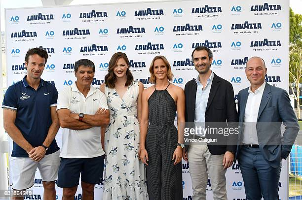 Carlos Moya of Spain Toni Nadal Australian Olympic gold medal winning sisters Cate and Bronte Campbell Marco and Giuseppe Lavazza pose at the Lavazza...