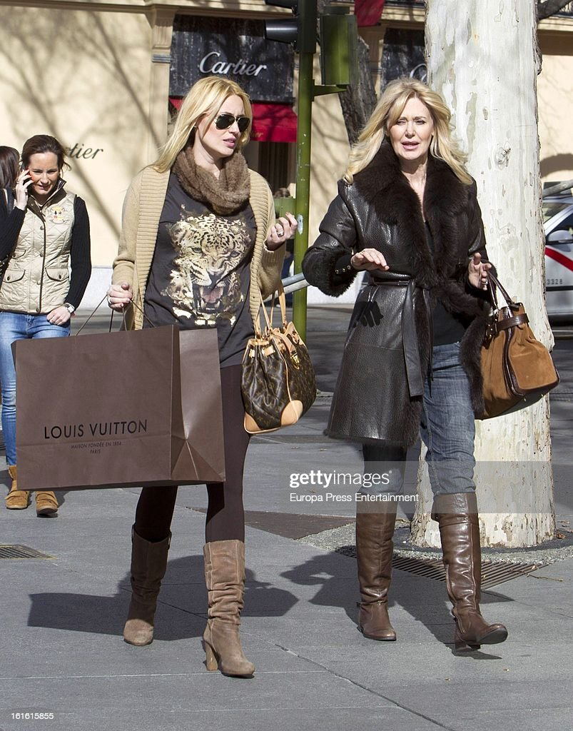 Carlos Moya's wife Carolina Cerezuela and her mother Maria Jose Gil are seen on February 12 2013 in Madrid Spain