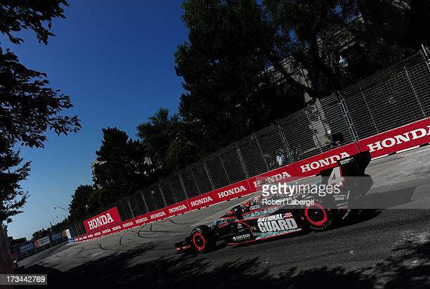 Carlos Munoz driver of the National Guard Panther Racing Chevrolet Dallara during warm up for race of the IZOD IndyCar Series Honda Indy Toronto on...