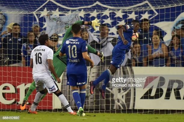 Carlos Orejuela of Ecuador's Emelec scores a goal against Peru's Melgar during their Libertadores Cup football match at the George Capwell stadium in...