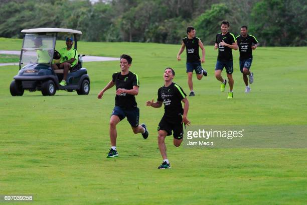 Carlos Orrantia and Diego Lainey of America train during the Pre Season training for the Torneo Apertura 2017 of Liga Bancomer MX at Golf club of...