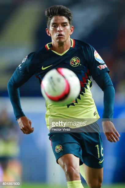 Carlos Orrantia of America looks the ball during the 2nd round match between Pachuca and America as part of the Torneo Apertura 2017 Liga MX at...