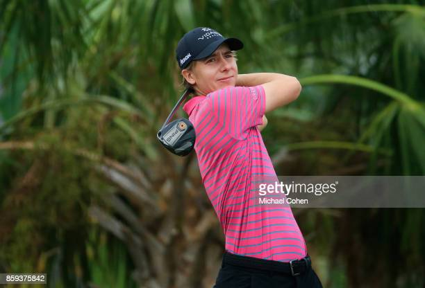 Carlos Ortiz of Mexico hits a drive during the third round of the Webcom Tour Championship held at Atlantic Beach Country Club on September 30 2017...