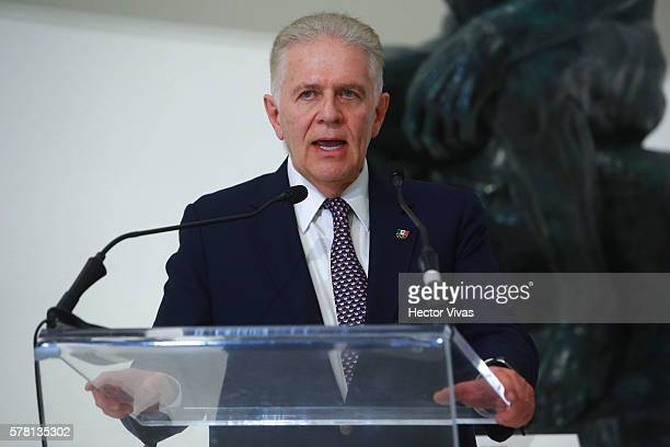 Carlos Padilla President of the Mexican Olympic Committee speaks during Mexico Olympic Team Farewell Ceremony at Soumaya Museum on July 20 2016 in...