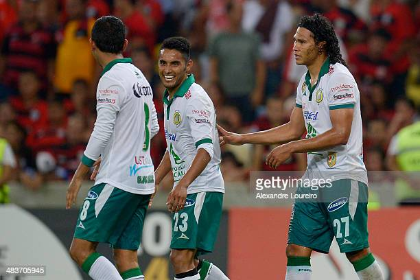 Carlos Peña of Leon celebrates a scored goal the third of his team during a match between Flamengo and Leon as part of Copa Bridgestone Libertadores...