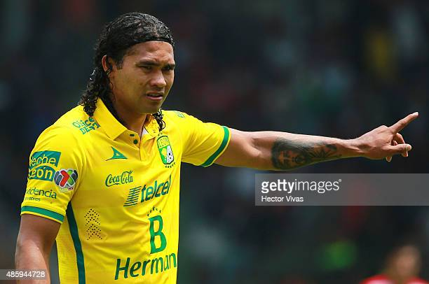Carlos Peña of Leon gestures during a 7th round match between Toluca and Leon as part of the Apertura 2015 Liga MX at Nemesio Diez Stadium on August...