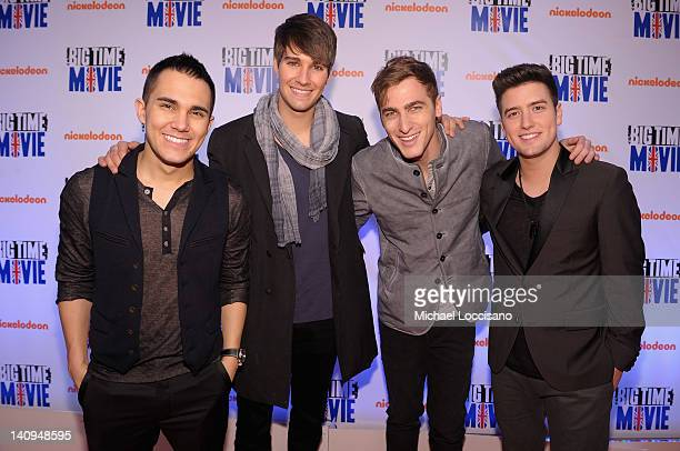 Carlos Pena Jr James Maslow Kendall Schmidt and Logan Henderson of Big Time Rush attend Nickelodeon Hosts Orange Carpet Premiere For Original TV...