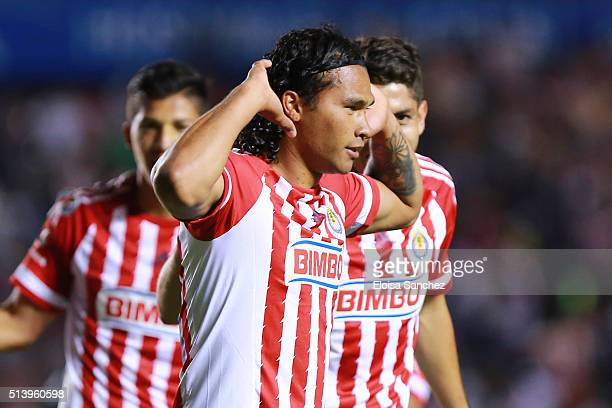 Carlos Pe–na of Chivas celebrates after scoring the second goal of his team during the 9th round match between Queretaro and Chivas as part of the...