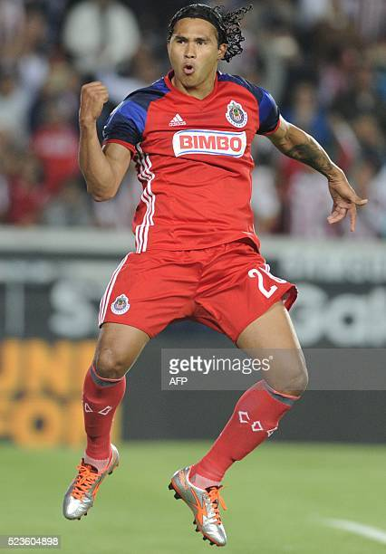 Carlos Pena of Guadalajara celebrates his goal against Pachuca during their Mexican Clausura 2016 Tournament football match at the Hidalgo stadium on...