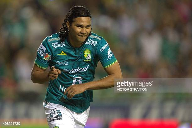Carlos Pena of Leon celebrates his goal against Dorados during their Mexican Apertura tournament football match at the Nou Camp stadium on November...