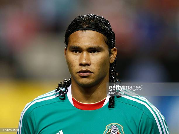 Carlos Pena of Mexico pauses for the national anthem before the CONCACAF Gold Cup quarterfinal game against Trinidad Tobago at the Georgia Dome on...