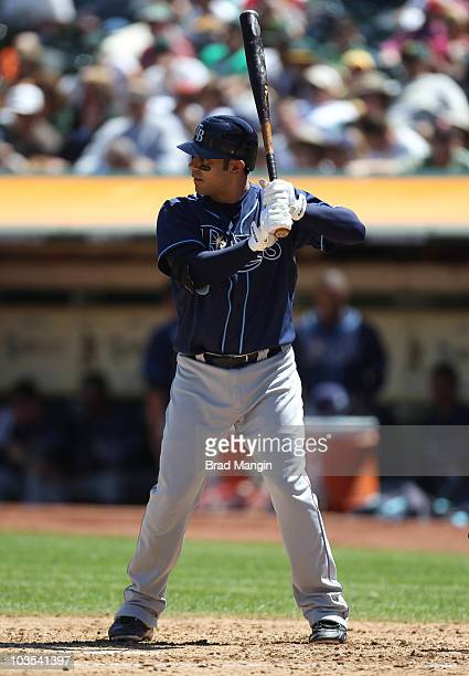 Carlos Pena of the Tampa Bay Rays bats against the Oakland Athletics during the game at the OaklandAlameda County Coliseum on August 22 2010 in...