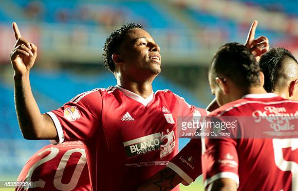 Carlos Peralta of America de Cali celebrates after scoring his teams second goal during a match between America de Cali and Jaguares as part of...