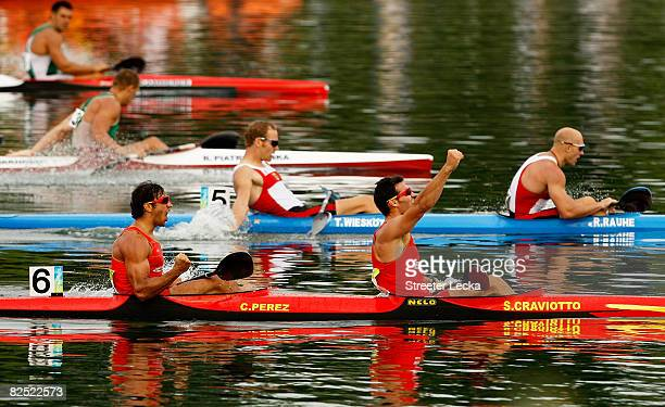 Carlos Perez and Saul Craviotto of Spain celebrate winning the Kayak Double 500m Men Final during the canoe/kayak flatwater event held at the Shunyi...