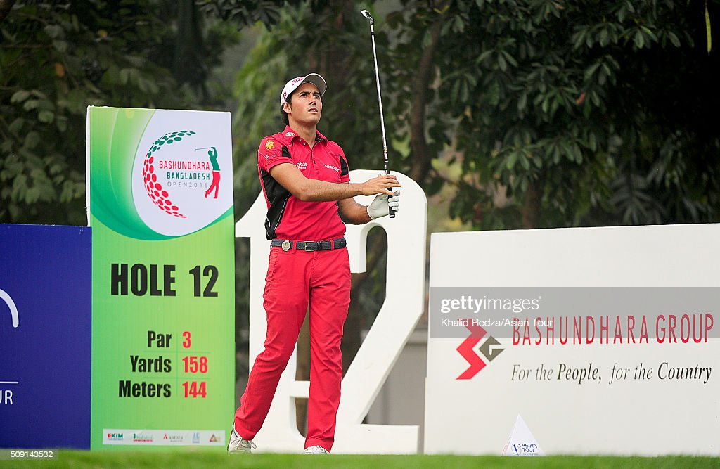 Carlos Pigem of Spain plays a shot during practice ahead of the Bashundhara Bangladesh Open at Kurmitola Golf Club on February 9, 2016 in Dhaka, Bangladesh.