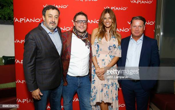 USA Carlos Politano Mario C Bauer Kelly Bensimon and CEO Jochen Halfmann attend Vapiano Grand ReLaunch Party at Vapiano on June 19 2017 in New York...