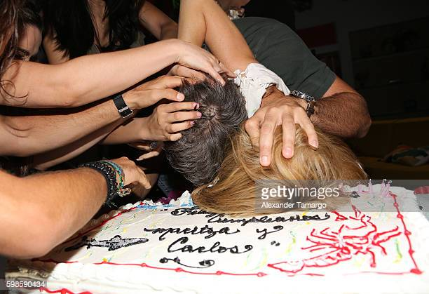 Carlos Ponce and Maritza Rodriguez are seen at Telemundo Studios during a surprise birthday party on September 1 2016 in Miami Florida