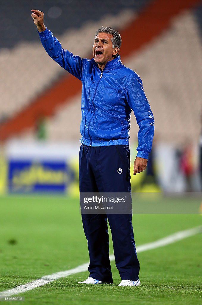 <a gi-track='captionPersonalityLinkClicked' href=/galleries/search?phrase=Carlos+Queiroz&family=editorial&specificpeople=211586 ng-click='$event.stopPropagation()'>Carlos Queiroz</a> coach of iran during AFC Asian Cup Qualifiers between Iran and Thailand at Azadi Stadium Tehran, Iran. on October 15, 2013 in Tehran, Iran.