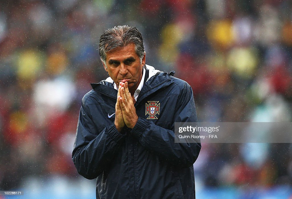 <a gi-track='captionPersonalityLinkClicked' href=/galleries/search?phrase=Carlos+Queiroz&family=editorial&specificpeople=211586 ng-click='$event.stopPropagation()'>Carlos Queiroz</a> head coach of Portugal reacts during the 2010 FIFA World Cup South Africa Group G match between Portugal and North Korea at the Green Point Stadium on June 21, 2010 in Cape Town, South Africa.