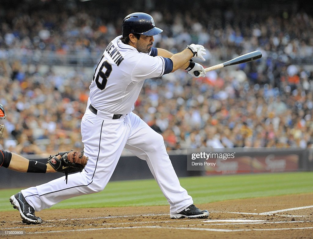 <a gi-track='captionPersonalityLinkClicked' href=/galleries/search?phrase=Carlos+Quentin&family=editorial&specificpeople=836474 ng-click='$event.stopPropagation()'>Carlos Quentin</a> #18 of the San Diego Padres hits an RBI double during the first inning of a baseball game against the San Francisco Giants at Petco Park on July 11, 2013 in San Diego, California.