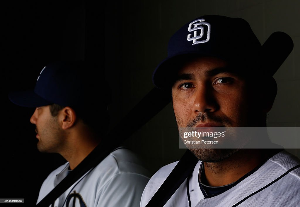 Carlos Quentin #18 of the San Diego Padres poses for a portrait during spring training photo day at Peoria Stadium on March 2, 2015 in Peoria, Arizona.