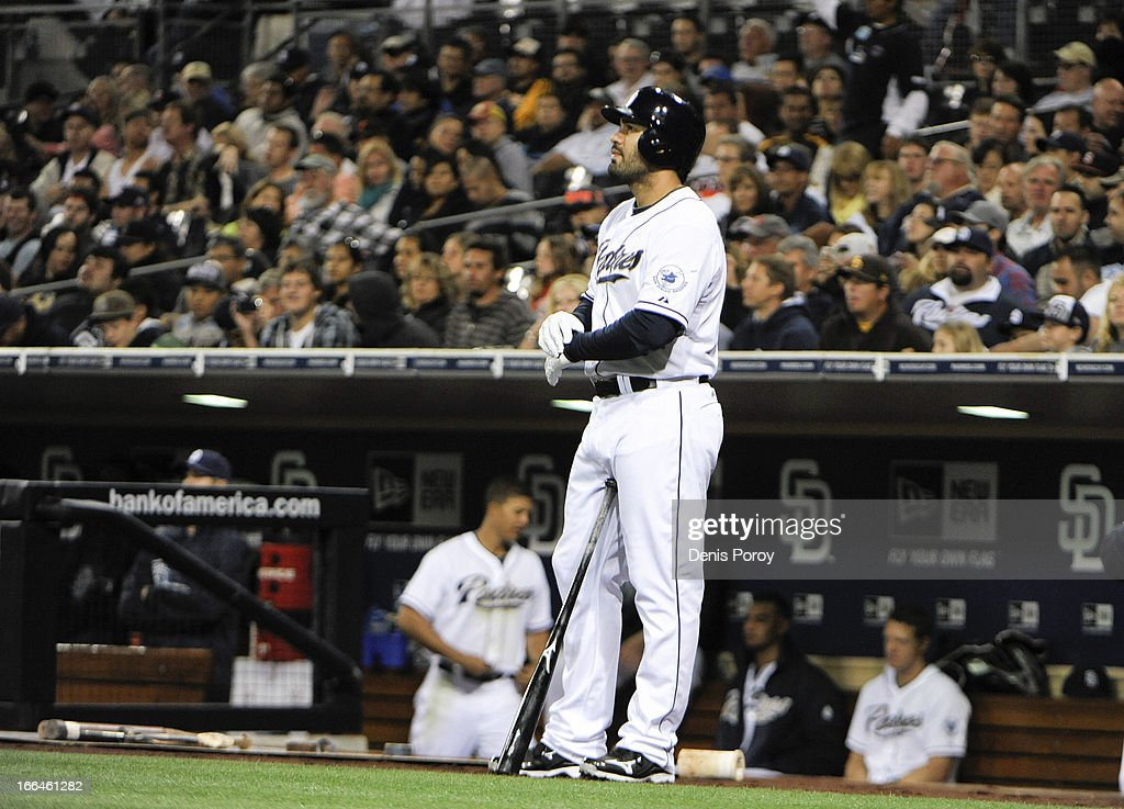 <a gi-track='captionPersonalityLinkClicked' href=/galleries/search?phrase=Carlos+Quentin&family=editorial&specificpeople=836474 ng-click='$event.stopPropagation()'>Carlos Quentin</a> #18 of the San Diego Padres waits before batting in the first inning against the Colorado Rockies at Petco Park on April 12, 2013 in San Diego, California.