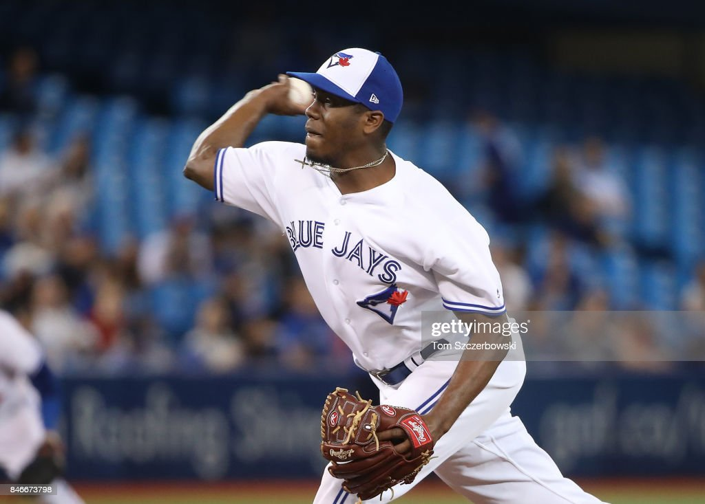 Carlos Ramirez #36 of the Toronto Blue Jays delivers a pitch in the seventh inning during MLB game action against the Baltimore Orioles at Rogers Centre on September 13, 2017 in Toronto, Canada.