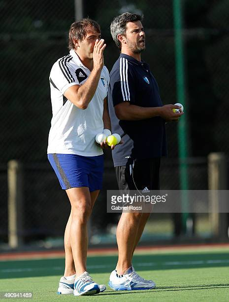 Carlos Retegui coach of Las Leonas and Los Leones gives instructions to his players during a training session as part of Argentina Male Hockey Team...