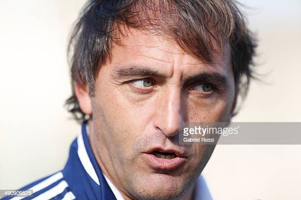 Carlos Retegui coach of Los Leones and Las Leonas talks during a training session as part of Argentina Female Hockey Team preparation for Hockey...
